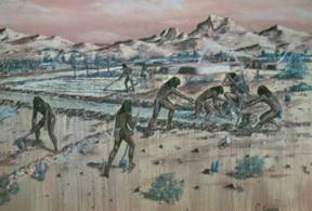"""Golden Valley"" watercolor by C. Kemper depicting the Hohokam building canals to bring life-giving water to the barren desert."