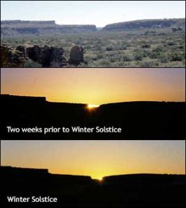 National Park Service photos of winter solstice sunrise viewed from Wijiji Pueblo in Chaco Canyon, New Mexico (Chaco Culture National Historical Park photo)