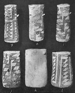"""These cylindrical pottery vases from Chaco Canyon likely were used especially for chocolate beverages (from Plate 68 in """"The Material Culture of Pueblo Bonito"""" by Neil M. Judd, 1954, Smithsonian Misc. Collections No. 124, Smithsonian Institution, Washington, D.C.)"""